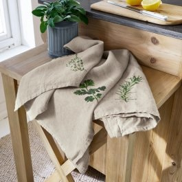 Theedoek set van 3 Herbal Gardens beige/groen