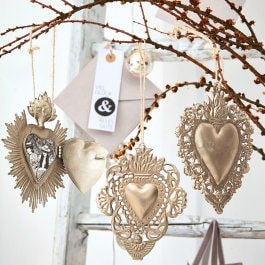 Decoratie ornament set van 3 Alexain antiekgoudkleurig